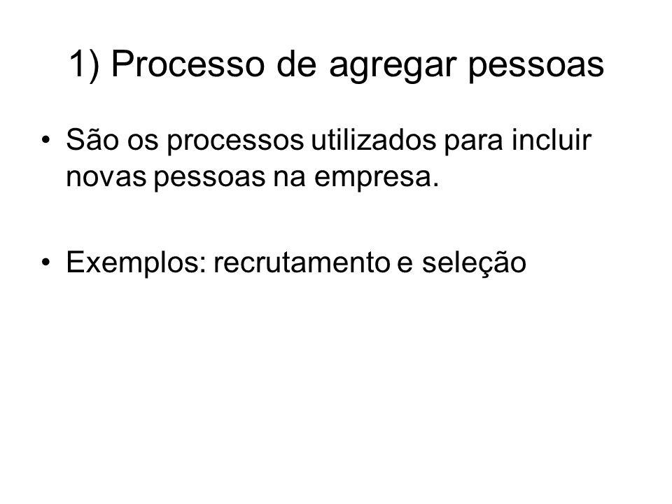 1) Processo de agregar pessoas São os processos utilizados para incluir novas pessoas na empresa. Exemplos: recrutamento e seleção