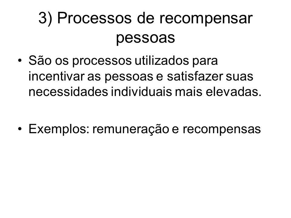 3) Processos de recompensar pessoas São os processos utilizados para incentivar as pessoas e satisfazer suas necessidades individuais mais elevadas. E