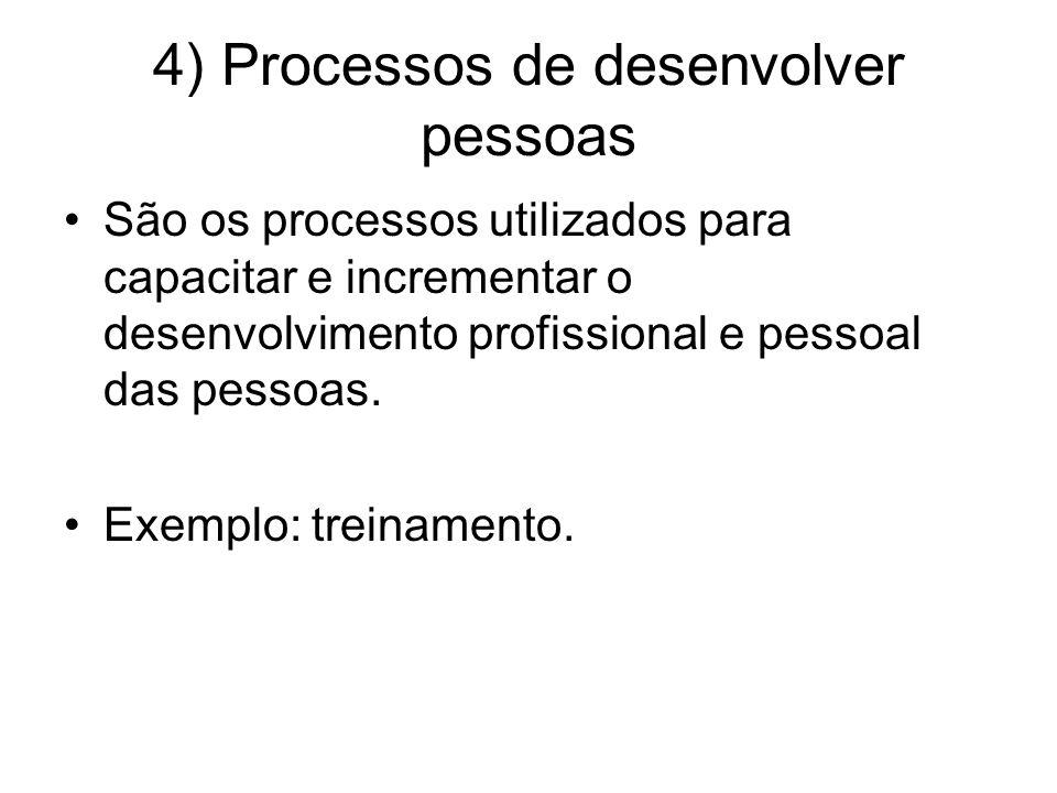 4) Processos de desenvolver pessoas São os processos utilizados para capacitar e incrementar o desenvolvimento profissional e pessoal das pessoas. Exe