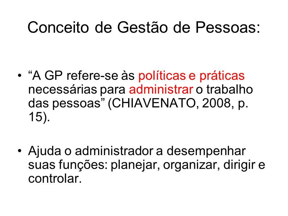 Conceito de Gestão de Pessoas: A GP refere-se às políticas e práticas necessárias para administrar o trabalho das pessoas (CHIAVENATO, 2008, p. 15). A