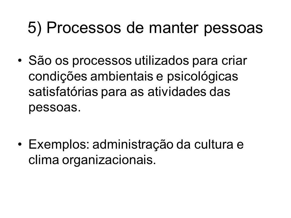 5) Processos de manter pessoas São os processos utilizados para criar condições ambientais e psicológicas satisfatórias para as atividades das pessoas