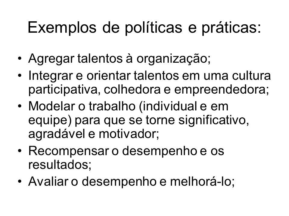 Exemplos de políticas e práticas: Agregar talentos à organização; Integrar e orientar talentos em uma cultura participativa, colhedora e empreendedora