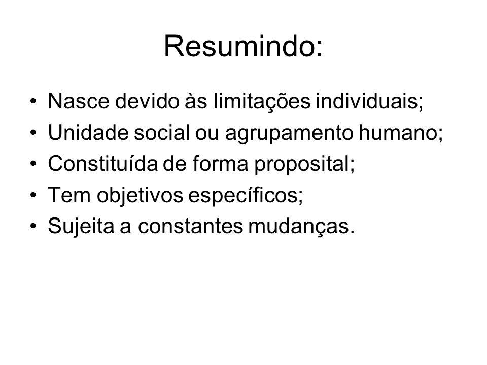Resumindo: Nasce devido às limitações individuais; Unidade social ou agrupamento humano; Constituída de forma proposital; Tem objetivos específicos; S