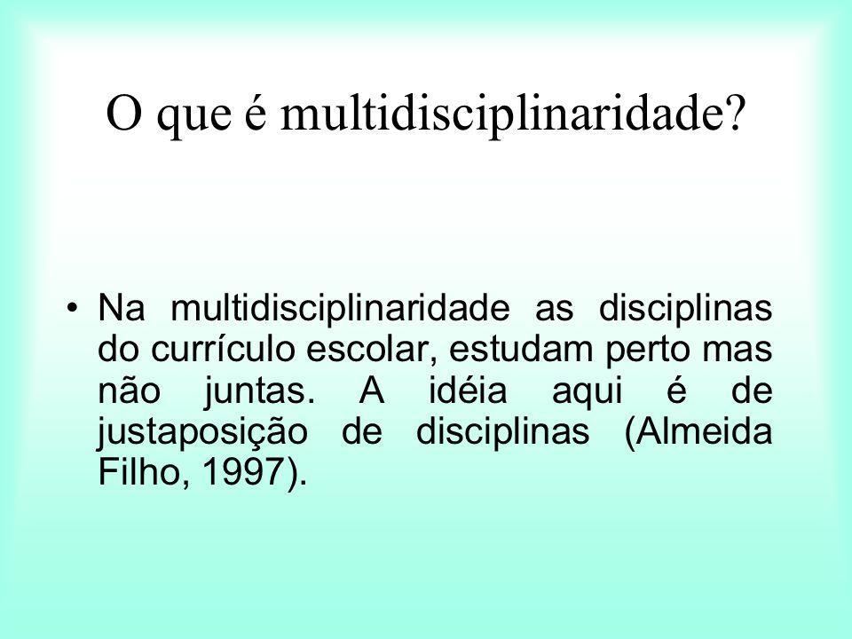 O que é multidisciplinaridade? Na multidisciplinaridade as disciplinas do currículo escolar, estudam perto mas não juntas. A idéia aqui é de justaposi