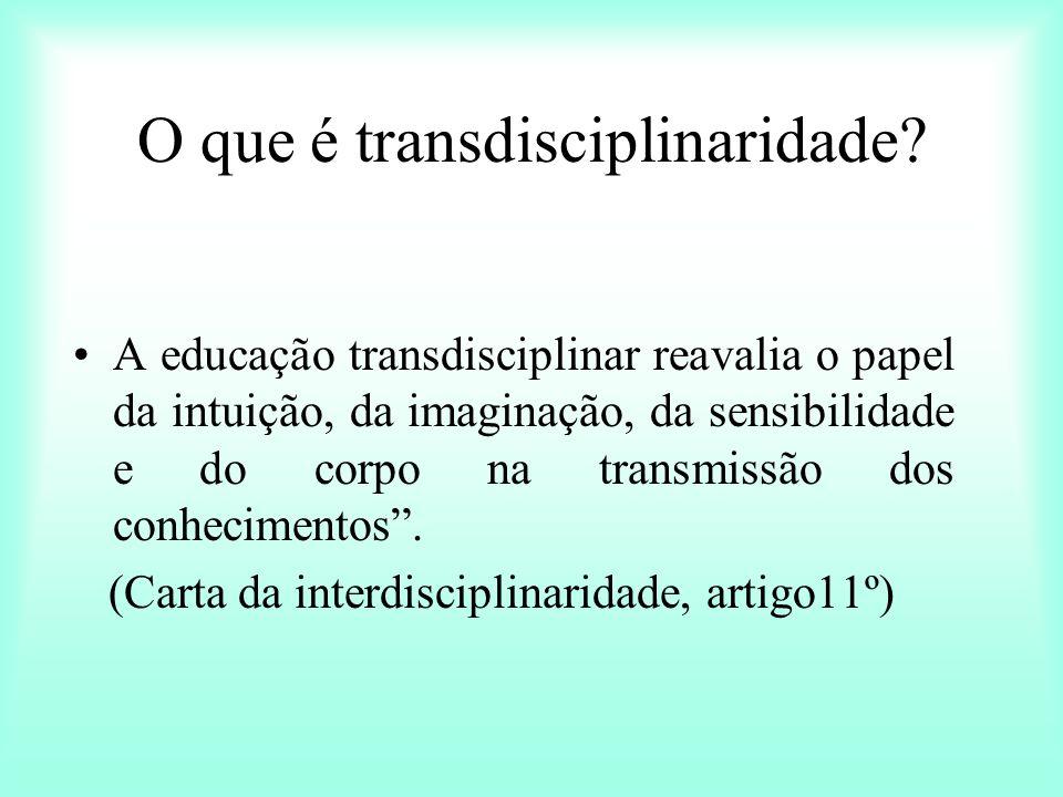 O que é transdisciplinaridade? A educação transdisciplinar reavalia o papel da intuição, da imaginação, da sensibilidade e do corpo na transmissão dos