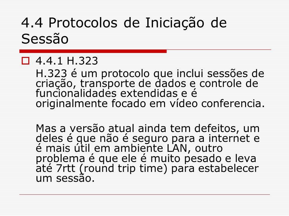 4.4 Protocolos de Iniciação de Sessão 4.4.1 H.323 H.323 é um protocolo que inclui sessões de criação, transporte de dados e controle de funcionalidade
