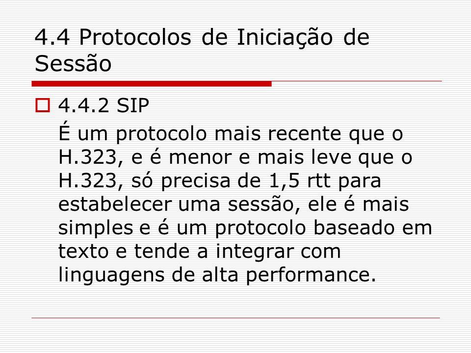 4.4 Protocolos de Iniciação de Sessão 4.4.2 SIP É um protocolo mais recente que o H.323, e é menor e mais leve que o H.323, só precisa de 1,5 rtt para