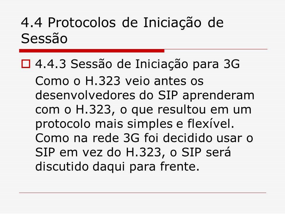 4.4 Protocolos de Iniciação de Sessão 4.4.3 Sessão de Iniciação para 3G Como o H.323 veio antes os desenvolvedores do SIP aprenderam com o H.323, o qu