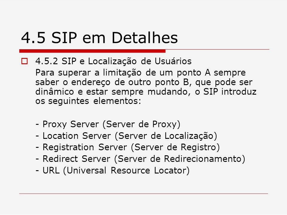 4.5 SIP em Detalhes 4.5.2 SIP e Localização de Usuários Para superar a limitação de um ponto A sempre saber o endereço de outro ponto B, que pode ser