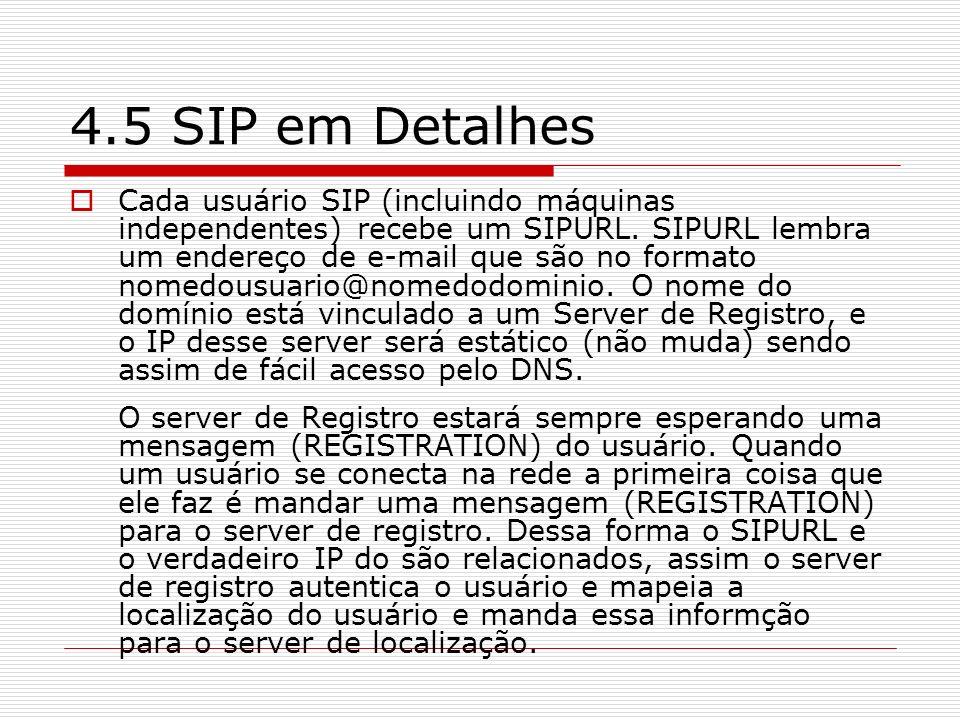 4.5 SIP em Detalhes Cada usuário SIP (incluindo máquinas independentes) recebe um SIPURL. SIPURL lembra um endereço de e-mail que são no formato nomed