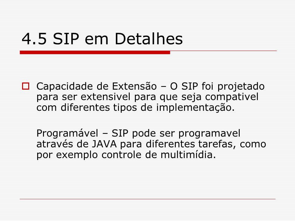 4.5 SIP em Detalhes Capacidade de Extensão – O SIP foi projetado para ser extensivel para que seja compativel com diferentes tipos de implementação. P