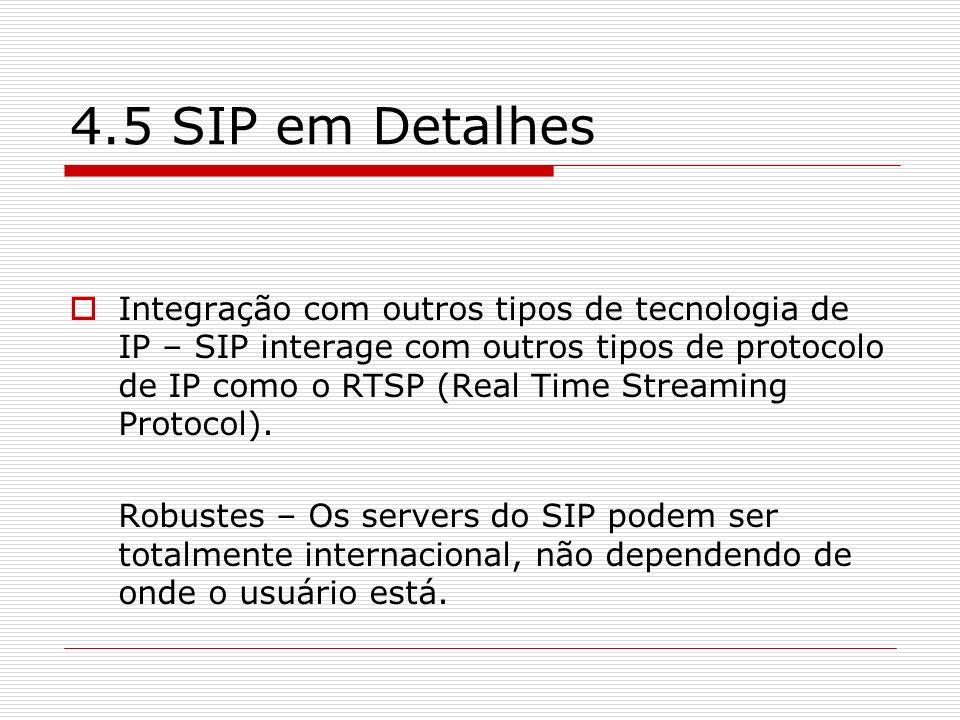 4.5 SIP em Detalhes Integração com outros tipos de tecnologia de IP – SIP interage com outros tipos de protocolo de IP como o RTSP (Real Time Streamin
