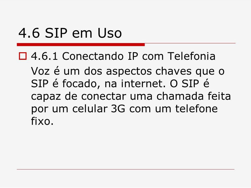 4.6 SIP em Uso 4.6.1 Conectando IP com Telefonia Voz é um dos aspectos chaves que o SIP é focado, na internet. O SIP é capaz de conectar uma chamada f