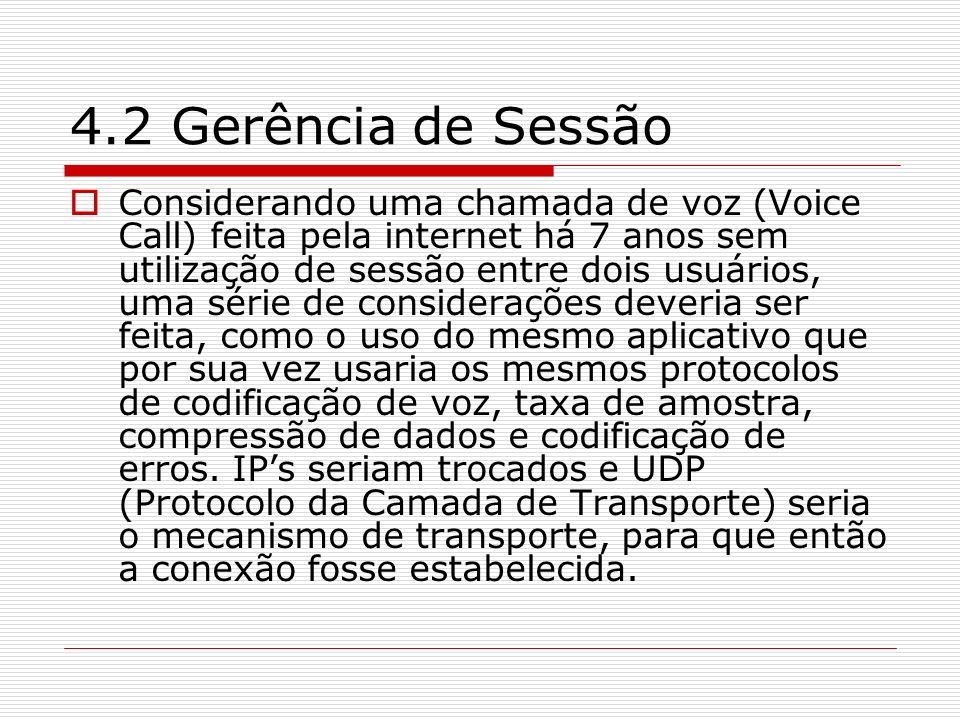 4.2 Gerência de Sessão Considerando uma chamada de voz (Voice Call) feita pela internet há 7 anos sem utilização de sessão entre dois usuários, uma sé