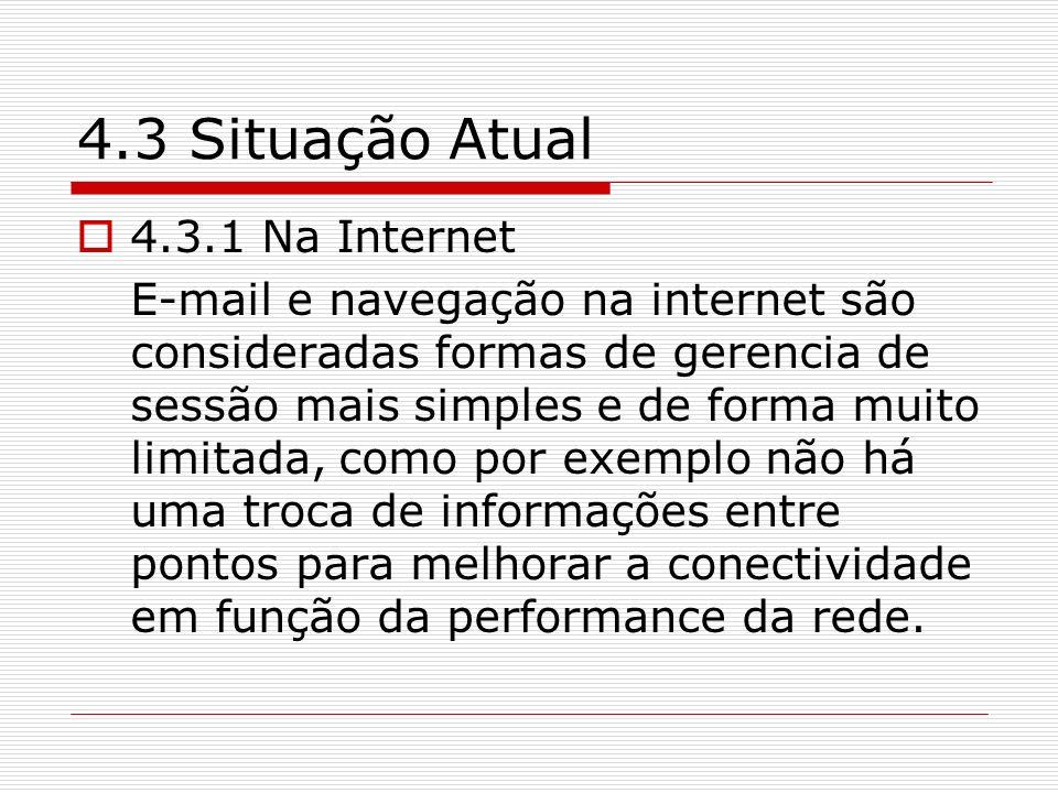 4.3 Situação Atual 4.3.1 Na Internet E-mail e navegação na internet são consideradas formas de gerencia de sessão mais simples e de forma muito limita