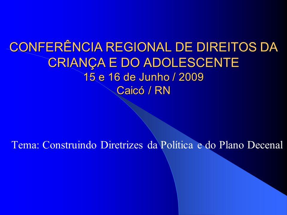 CONFERÊNCIA REGIONAL DE DIREITOS DA CRIANÇA E DO ADOLESCENTE 15 e 16 de Junho / 2009 Caicó / RN Tema: Construindo Diretrizes da Política e do Plano Decenal