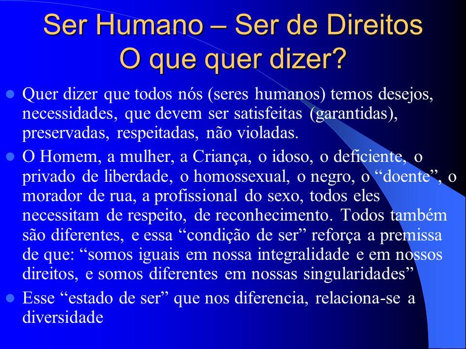 Ser Humano – Ser de Direitos O que quer dizer.