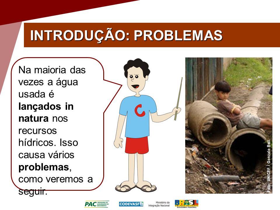 INTRODUÇÃO: PROBLEMAS Foto: UNICEF / Gonzalo Bell. Na maioria das vezes a água usada é lançados in natura nos recursos hídricos. Isso causa vários pro