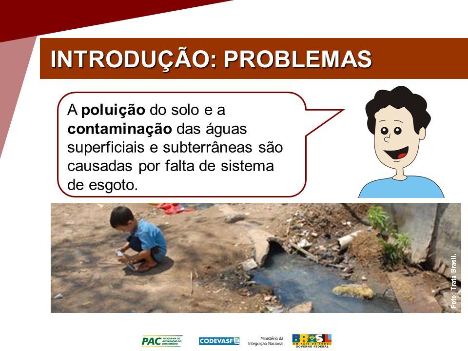 INTRODUÇÃO: PROBLEMAS Foto: Trata Brasil. A poluição do solo e a contaminação das águas superficiais e subterrâneas são causadas por falta de sistema