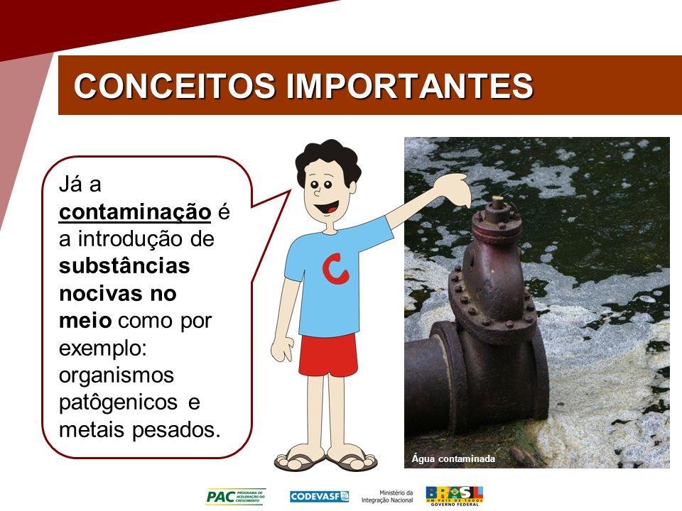 CONCEITOS IMPORTANTES Água contaminada Já a contaminação é a introdução de substâncias nocivas no meio como por exemplo: organismos patôgenicos e metais pesados.