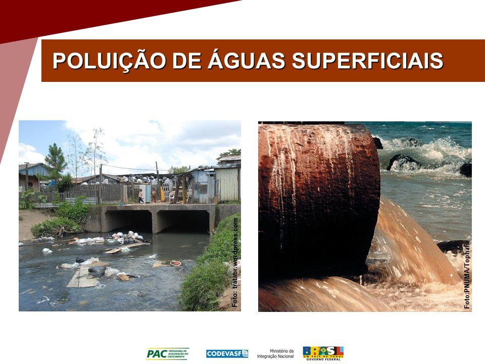 POLUIÇÃO DE ÁGUAS SUPERFICIAIS Foto: tratabr.wordpress.com Foto:PNUMA/Topham