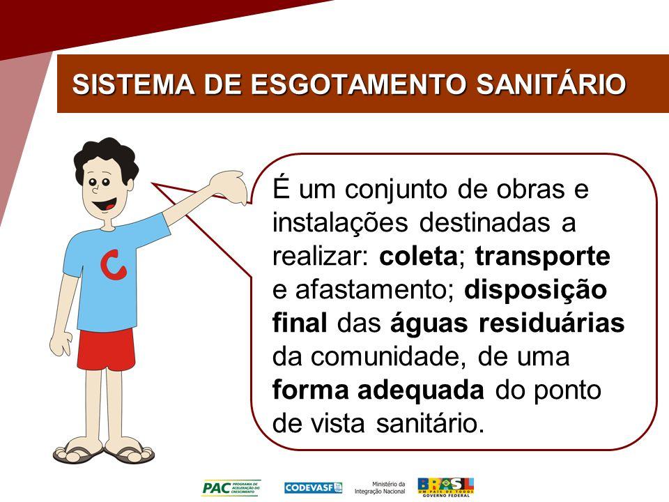 SISTEMA DE ESGOTAMENTO SANITÁRIO É um conjunto de obras e instalações destinadas a realizar: coleta; transporte e afastamento; disposição final das águas residuárias da comunidade, de uma forma adequada do ponto de vista sanitário.