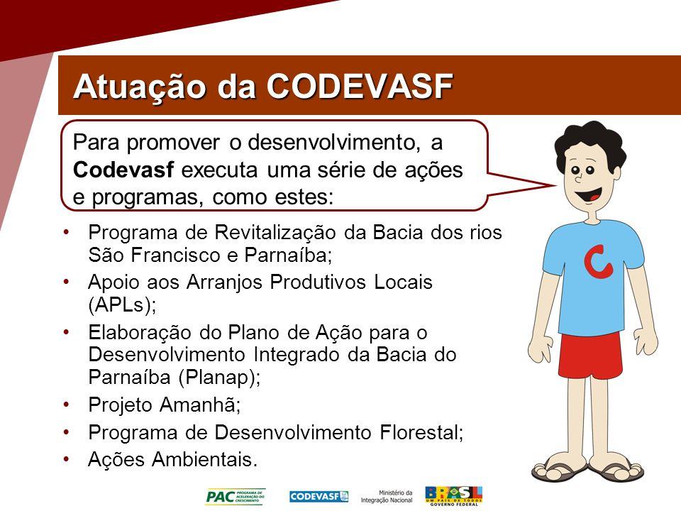 Atuação da CODEVASF Programa de Revitalização da Bacia dos rios São Francisco e Parnaíba; Apoio aos Arranjos Produtivos Locais (APLs); Elaboração do P