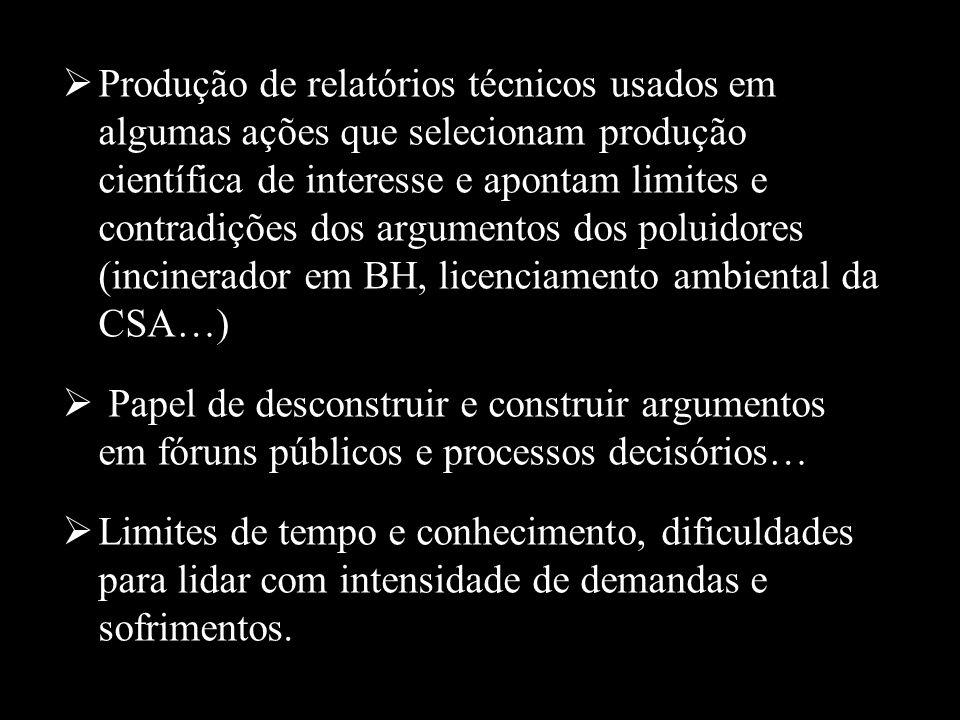 Produção de relatórios técnicos usados em algumas ações que selecionam produção científica de interesse e apontam limites e contradições dos argumento