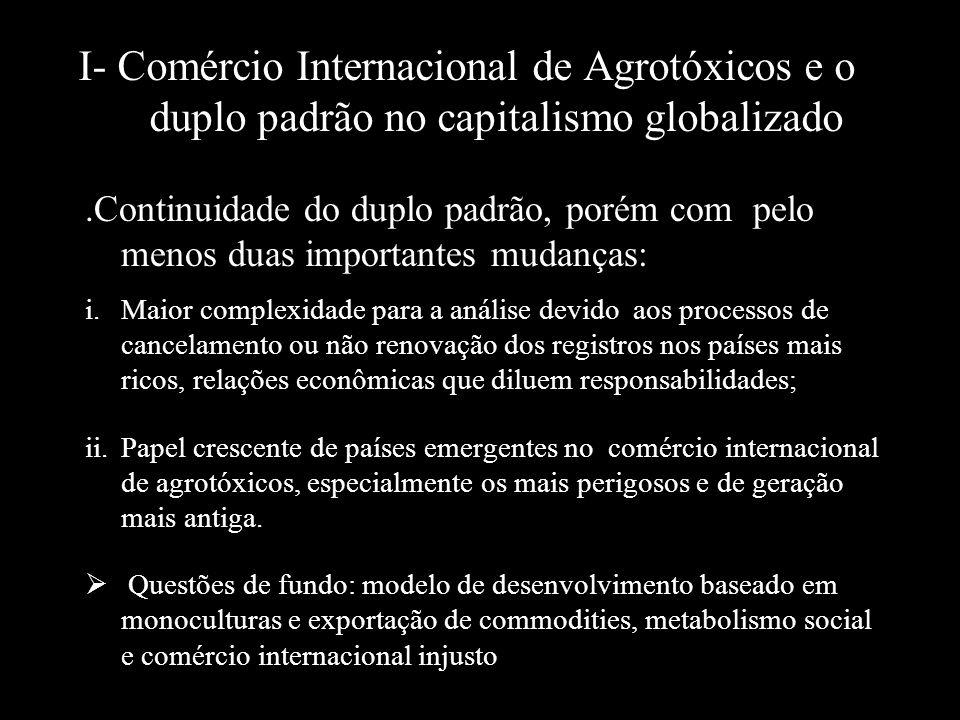 I- Comércio Internacional de Agrotóxicos e o duplo padrão no capitalismo globalizado.Continuidade do duplo padrão, porém com pelo menos duas important