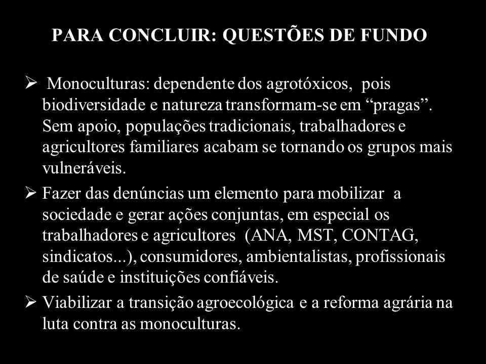 PARA CONCLUIR: QUESTÕES DE FUNDO Monoculturas: dependente dos agrotóxicos, pois biodiversidade e natureza transformam-se em pragas. Sem apoio, populaç