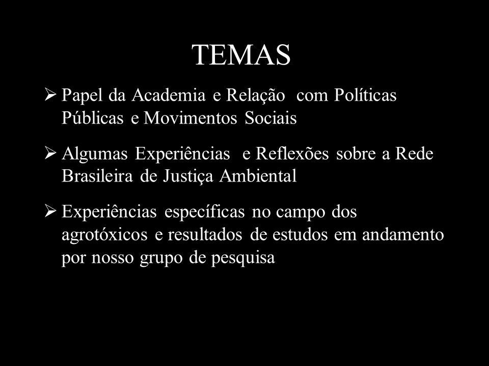 TEMAS Papel da Academia e Relação com Políticas Públicas e Movimentos Sociais Algumas Experiências e Reflexões sobre a Rede Brasileira de Justiça Ambi