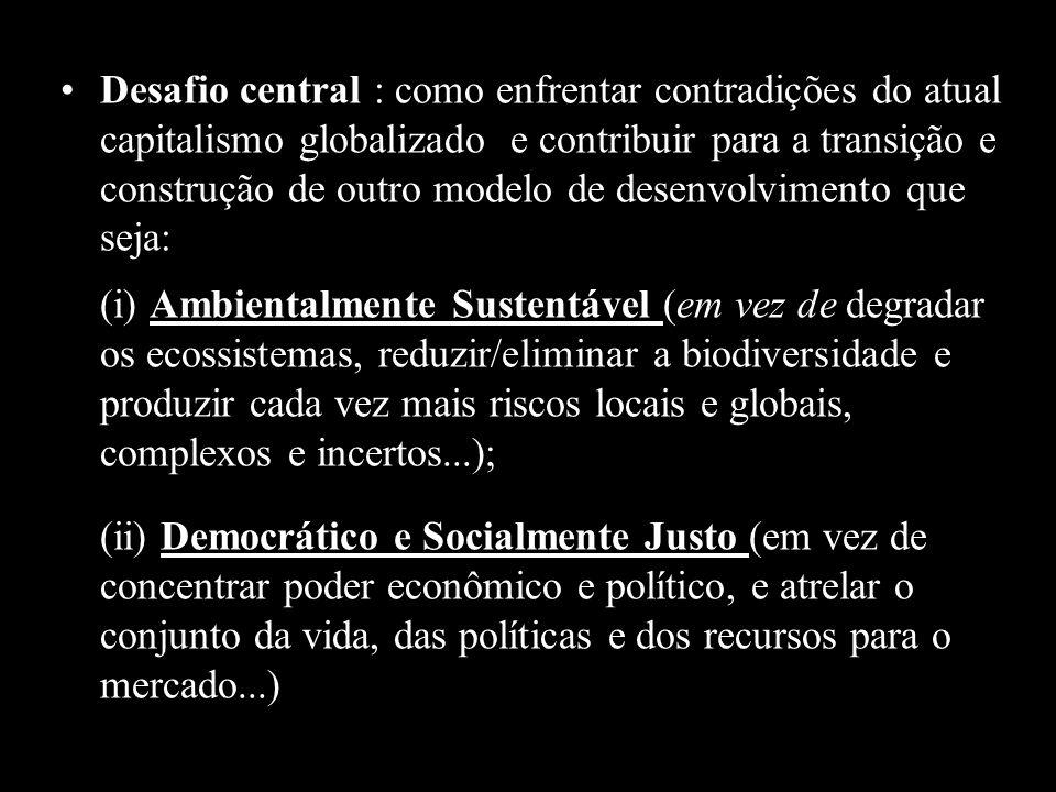 Desafio central : como enfrentar contradições do atual capitalismo globalizado e contribuir para a transição e construção de outro modelo de desenvolv
