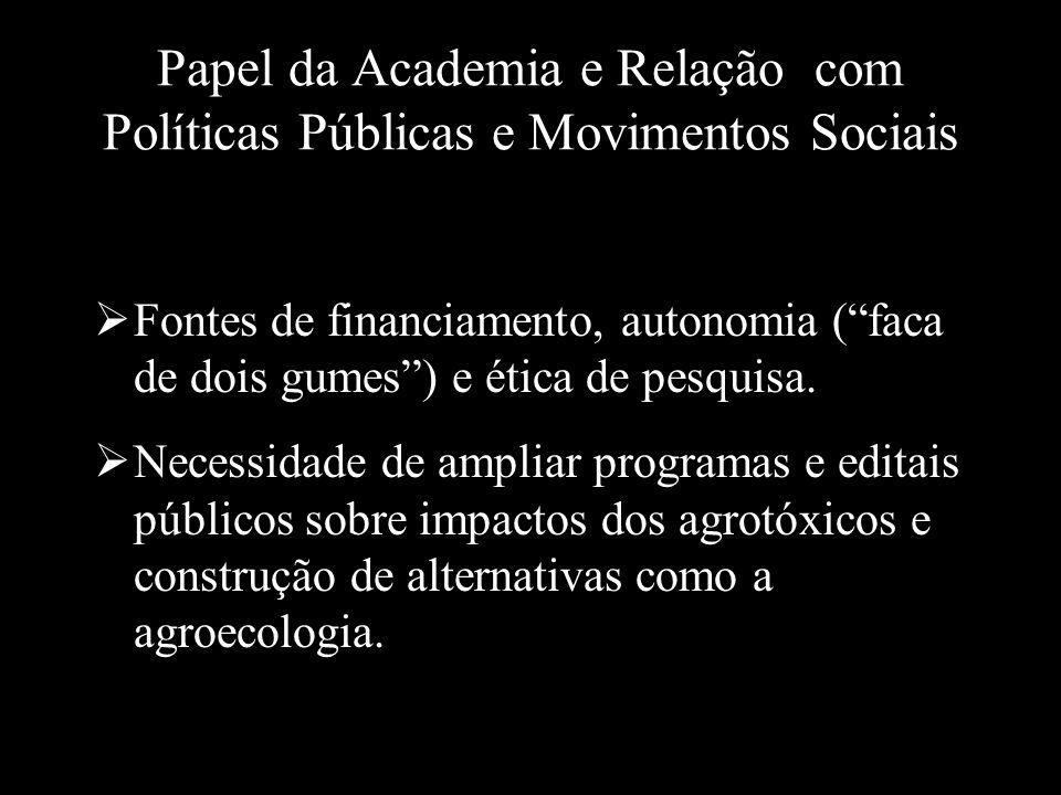 Papel da Academia e Relação com Políticas Públicas e Movimentos Sociais Fontes de financiamento, autonomia (faca de dois gumes) e ética de pesquisa. N