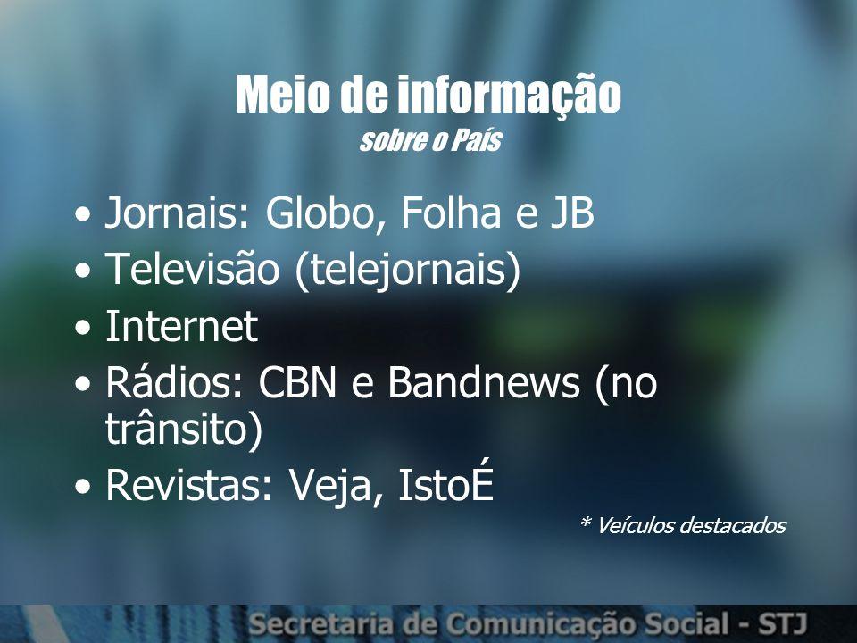 Meio de informação sobre o País Jornais: Globo, Folha e JB Televisão (telejornais) Internet Rádios: CBN e Bandnews (no trânsito) Revistas: Veja, IstoÉ * Veículos destacados