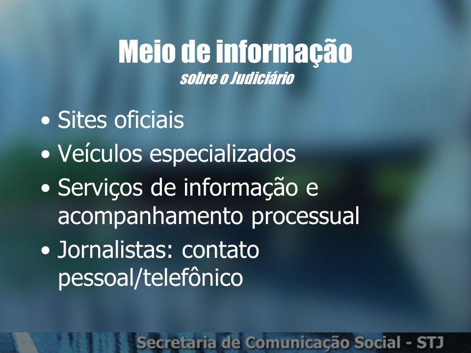 Sites oficiais Veículos especializados Serviços de informação e acompanhamento processual Jornalistas: contato pessoal/telefônico Meio de informação sobre o Judiciário