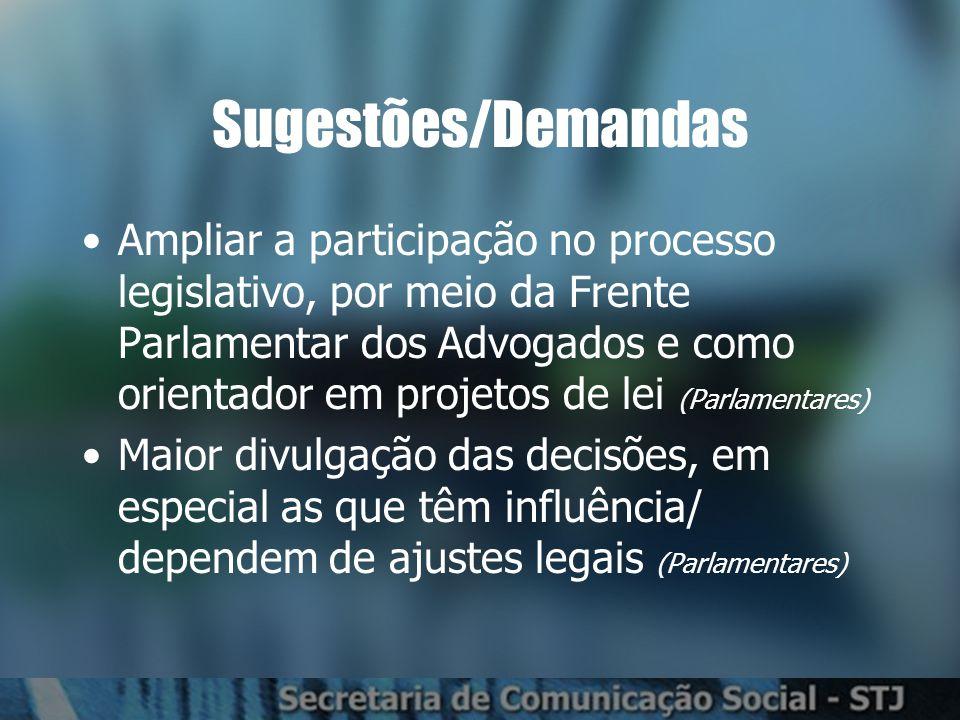 Sugestões/Demandas Ampliar a participação no processo legislativo, por meio da Frente Parlamentar dos Advogados e como orientador em projetos de lei (Parlamentares) Maior divulgação das decisões, em especial as que têm influência/ dependem de ajustes legais (Parlamentares)