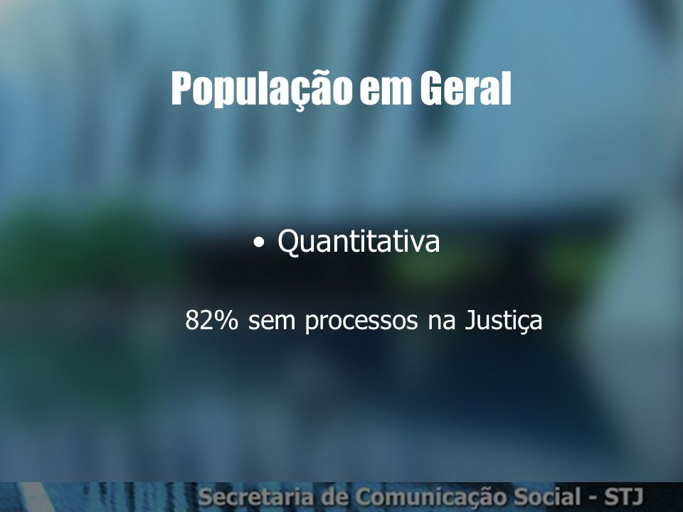 População em Geral Quantitativa 82% sem processos na Justiça