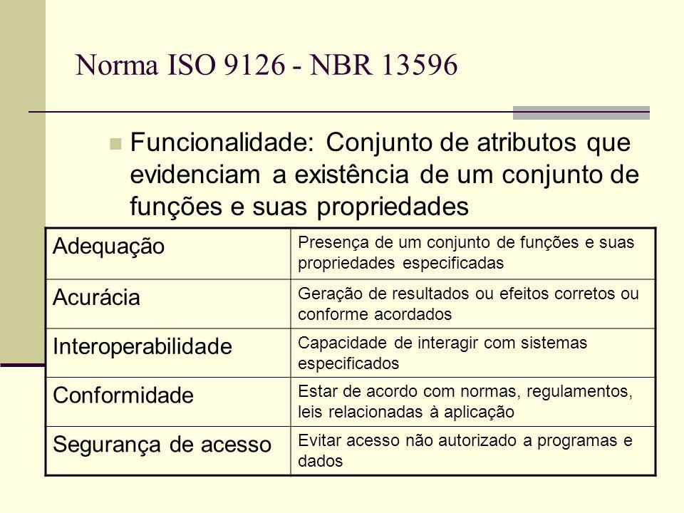 Norma ISO 9126 - NBR 13596 Funcionalidade: Conjunto de atributos que evidenciam a existência de um conjunto de funções e suas propriedades Adequação Presença de um conjunto de funções e suas propriedades especificadas Acurácia Geração de resultados ou efeitos corretos ou conforme acordados Interoperabilidade Capacidade de interagir com sistemas especificados Conformidade Estar de acordo com normas, regulamentos, leis relacionadas à aplicação Segurança de acesso Evitar acesso não autorizado a programas e dados