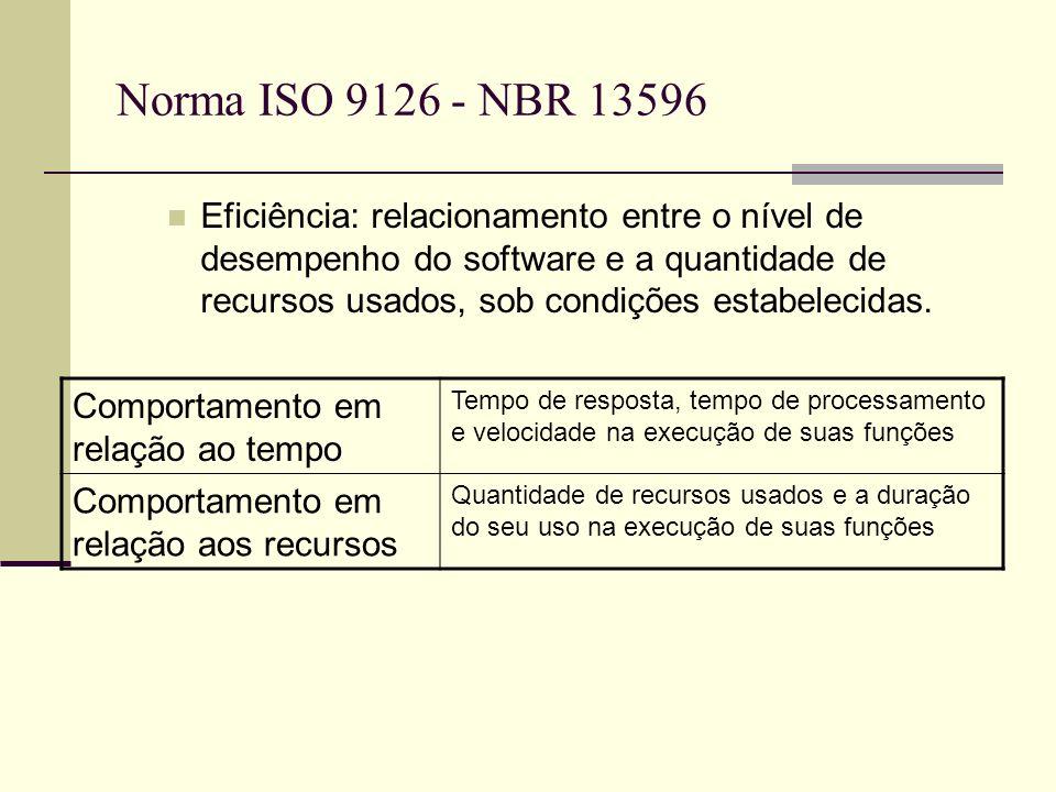 Norma ISO 9126 - NBR 13596 Eficiência: relacionamento entre o nível de desempenho do software e a quantidade de recursos usados, sob condições estabelecidas.