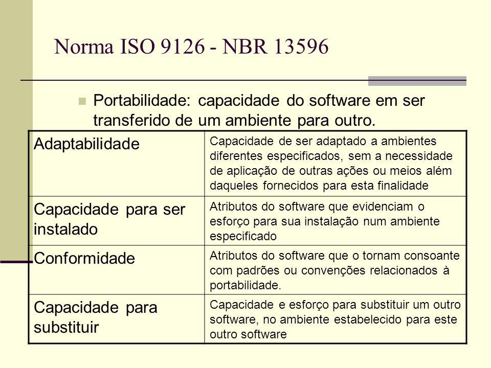 Norma ISO 9126 - NBR 13596 Portabilidade: capacidade do software em ser transferido de um ambiente para outro. Adaptabilidade Capacidade de ser adapta