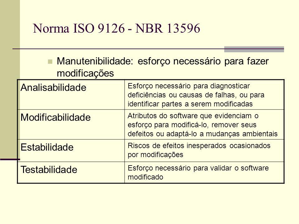 Norma ISO 9126 - NBR 13596 Manutenibilidade: esforço necessário para fazer modificações Analisabilidade Esforço necessário para diagnosticar deficiências ou causas de falhas, ou para identificar partes a serem modificadas Modificabilidade Atributos do software que evidenciam o esforço para modificá-lo, remover seus defeitos ou adaptá-lo a mudanças ambientais Estabilidade Riscos de efeitos inesperados ocasionados por modificações Testabilidade Esforço necessário para validar o software modificado