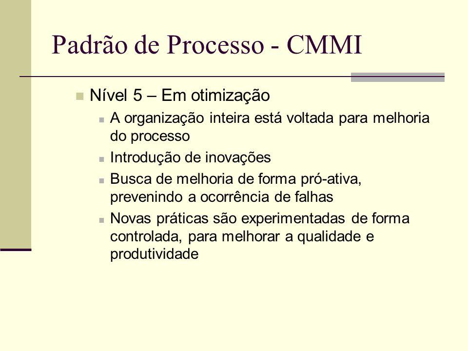 Padrão de Processo - CMMI Nível 5 – Em otimização A organização inteira está voltada para melhoria do processo Introdução de inovações Busca de melhoria de forma pró-ativa, prevenindo a ocorrência de falhas Novas práticas são experimentadas de forma controlada, para melhorar a qualidade e produtividade