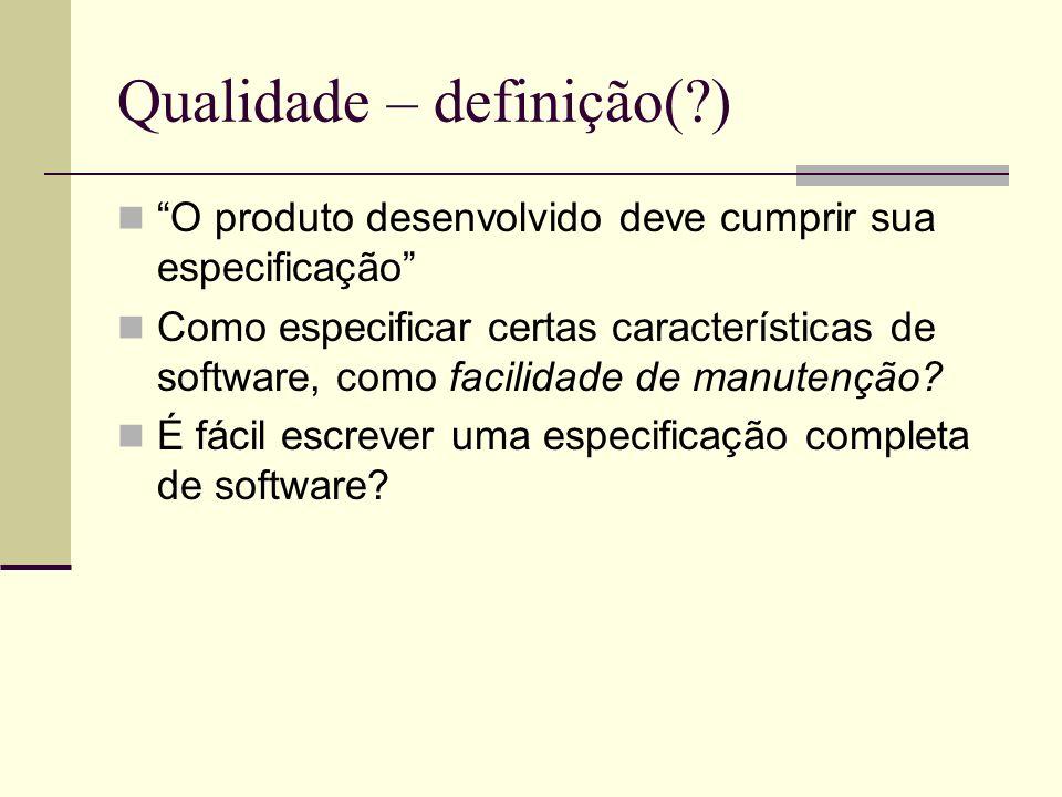 Qualidade – definição(?) O produto desenvolvido deve cumprir sua especificação Como especificar certas características de software, como facilidade de manutenção.