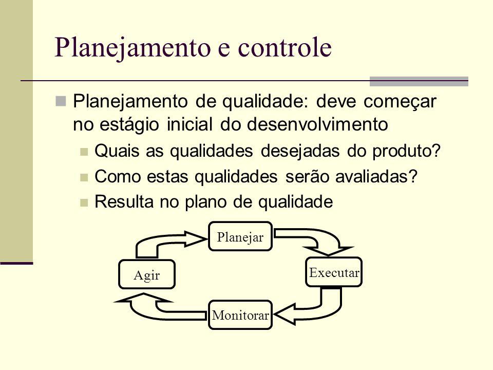 Planejamento e controle Planejamento de qualidade: deve começar no estágio inicial do desenvolvimento Quais as qualidades desejadas do produto? Como e