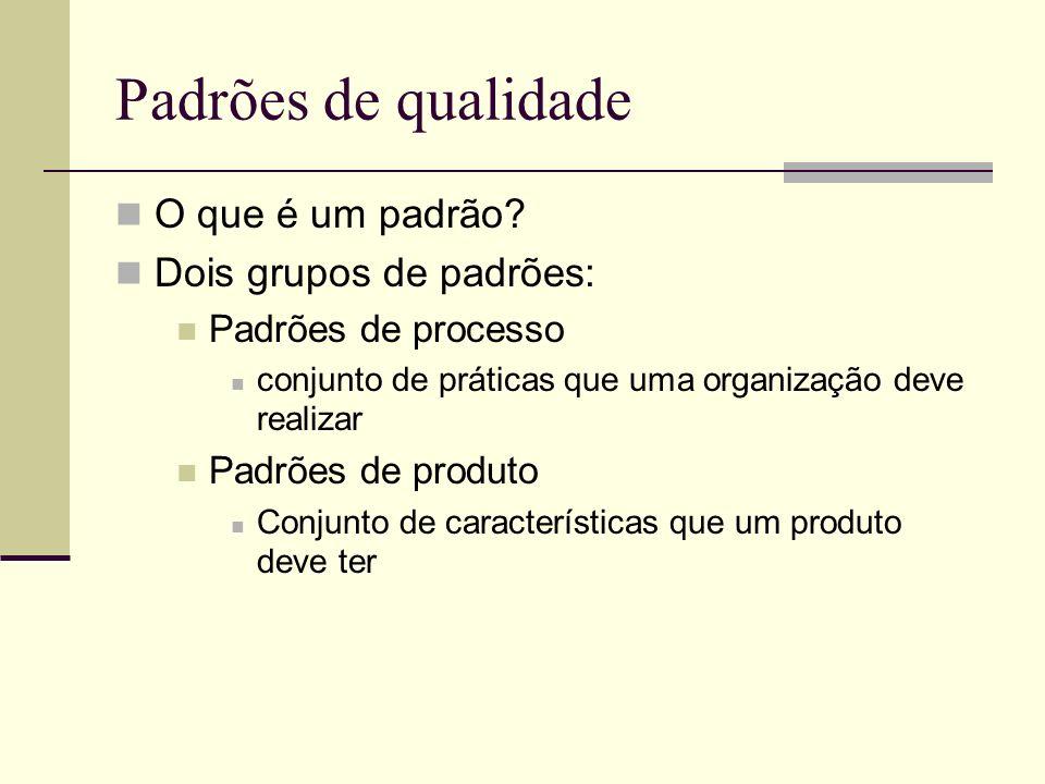 Padrões de qualidade O que é um padrão? Dois grupos de padrões: Padrões de processo conjunto de práticas que uma organização deve realizar Padrões de