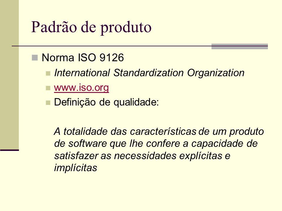 Padrão de produto Norma ISO 9126 International Standardization Organization www.iso.org Definição de qualidade: A totalidade das características de um produto de software que lhe confere a capacidade de satisfazer as necessidades explícitas e implícitas