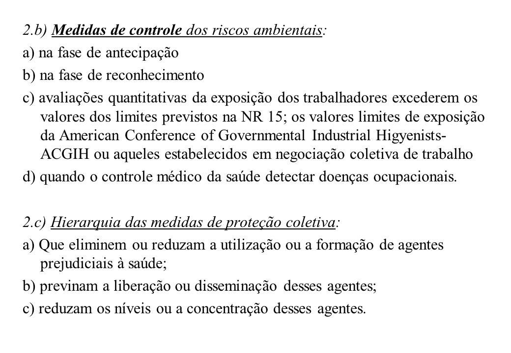 2.b) Medidas de controle dos riscos ambientais: a) na fase de antecipação b) na fase de reconhecimento c) avaliações quantitativas da exposição dos tr