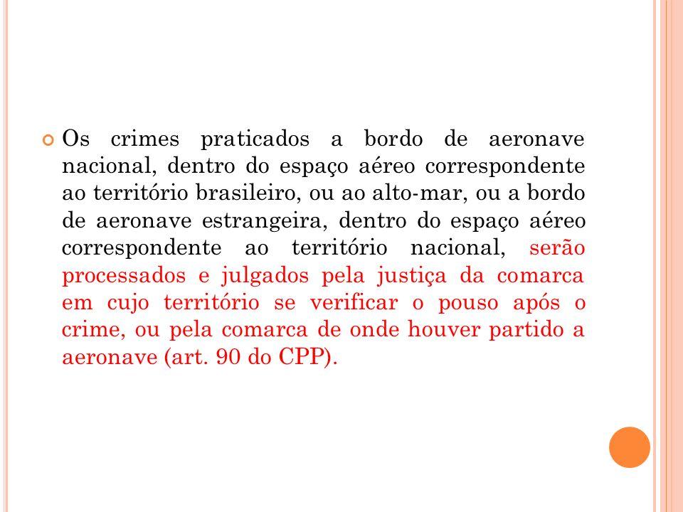 Os crimes praticados a bordo de aeronave nacional, dentro do espaço aéreo correspondente ao território brasileiro, ou ao alto-mar, ou a bordo de aeron