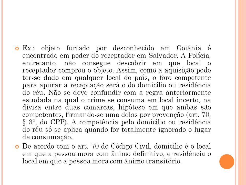Ex.: objeto furtado por desconhecido em Goiânia é encontrado em poder do receptador em Salvador. A Polícia, entretanto, não consegue descobrir em que
