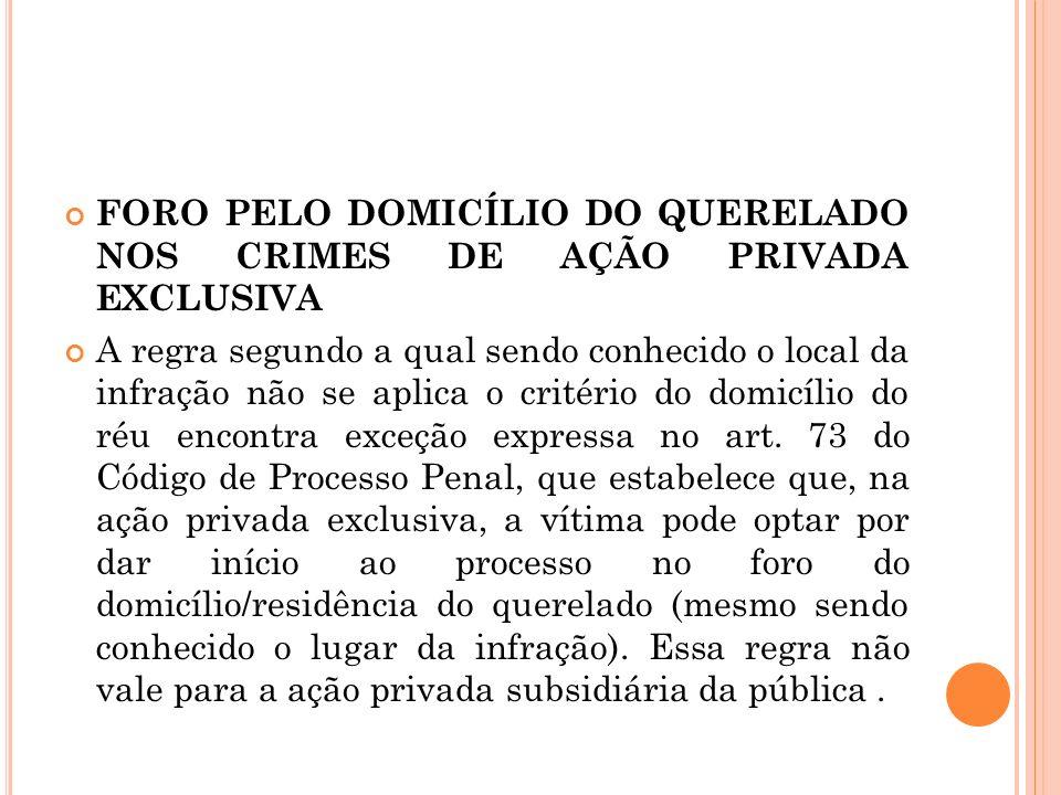 FORO PELO DOMICÍLIO DO QUERELADO NOS CRIMES DE AÇÃO PRIVADA EXCLUSIVA A regra segundo a qual sendo conhecido o local da infração não se aplica o crité